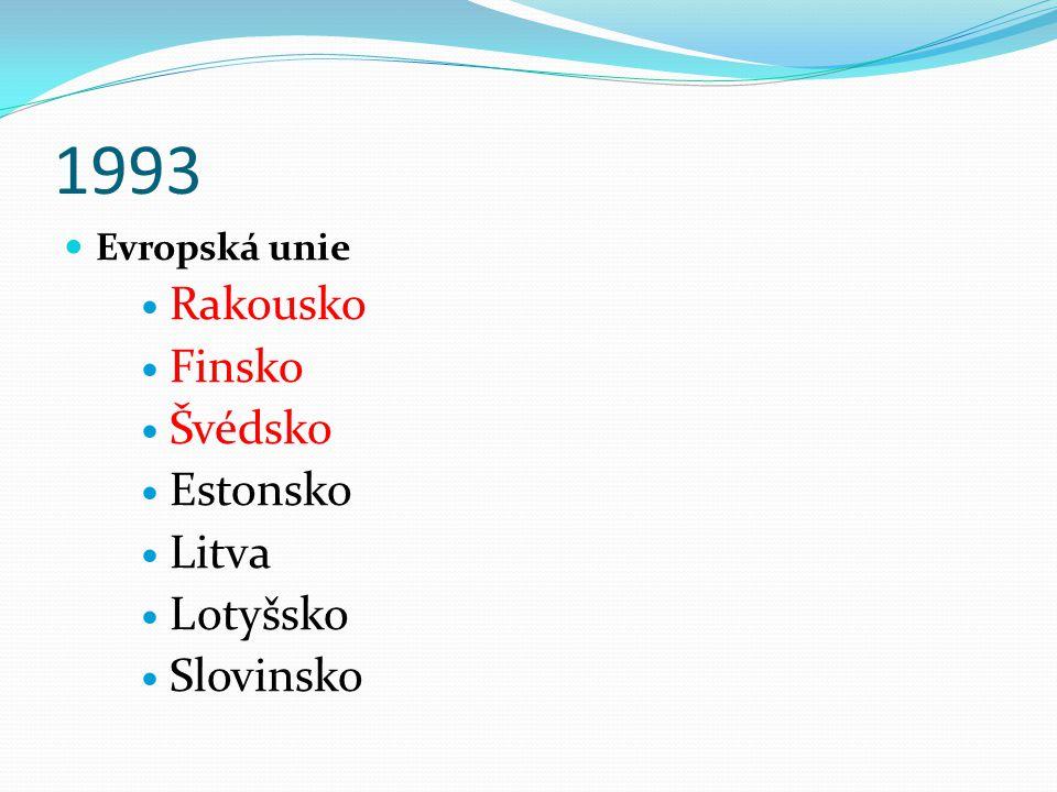 1993 Evropská unie Rakousko Finsko Švédsko Estonsko Litva Lotyšsko Slovinsko