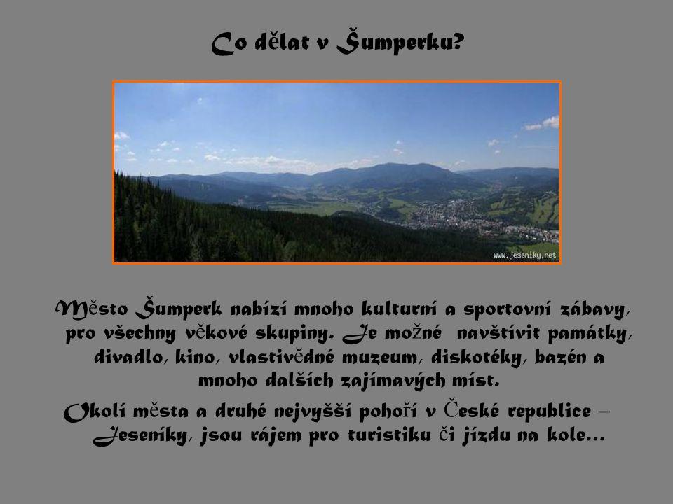 M ě sto Šumperk nabízí mnoho kulturní a sportovní zábavy, pro všechny v ě kové skupiny. Je mo ž né navštívit památky, divadlo, kino, vlastiv ě dné muz