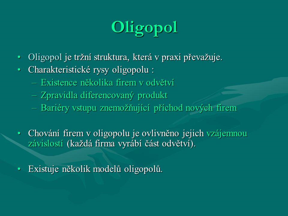 Oligopol Oligopol je tržní struktura, která v praxi převažuje.Oligopol je tržní struktura, která v praxi převažuje. Charakteristické rysy oligopolu :C