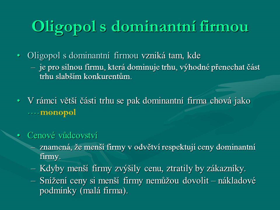 Oligopol s dominantní firmou Oligopol s dominantní firmou vzniká tam, kdeOligopol s dominantní firmou vzniká tam, kde –je pro silnou firmu, která domi