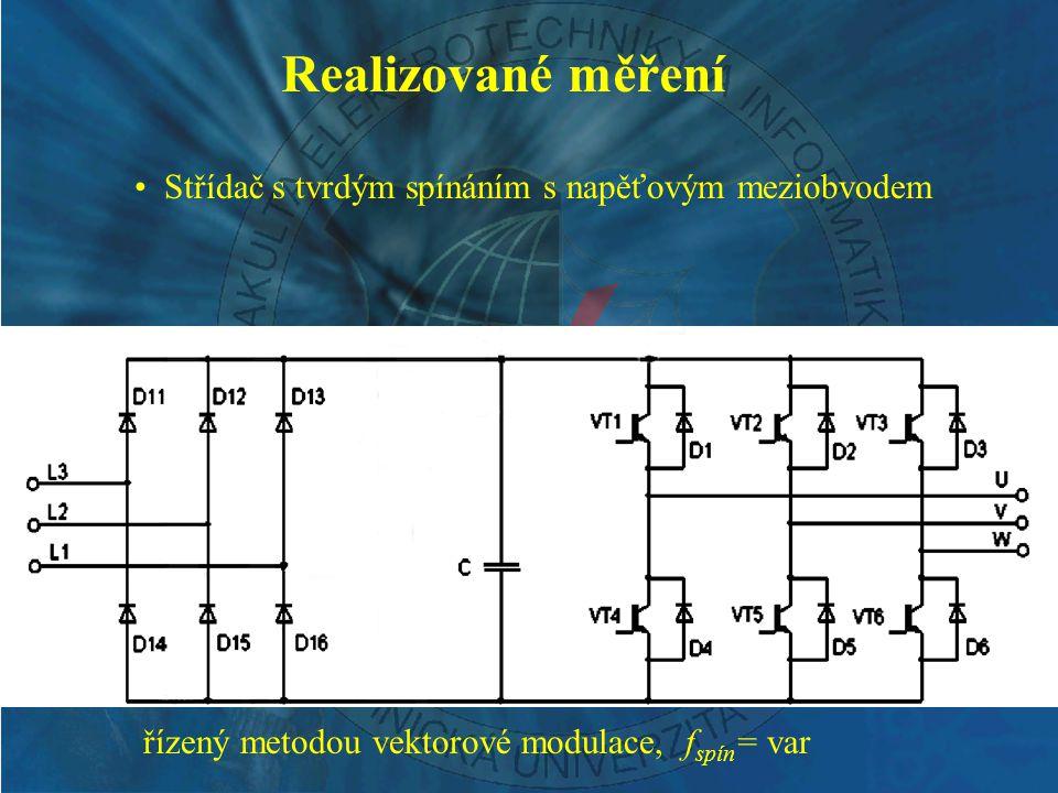 řízený metodou vektorové modulace, f spín = var Realizované měření Střídač s tvrdým spínáním s napěťovým meziobvodem