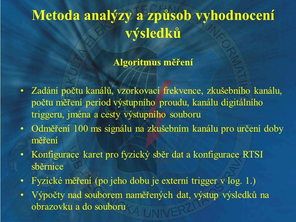 Metoda analýzy a způsob vyhodnocení výsledků Algoritmus měření Zadání počtu kanálů, vzorkovací frekvence, zkušebního kanálu, počtu měření period výstu