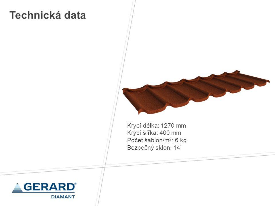 Krycí délka: 1270 mm Krycí šířka: 400 mm Počet šablon/m 2 : 6 kg Bezpečný sklon: 14 ° Technická data