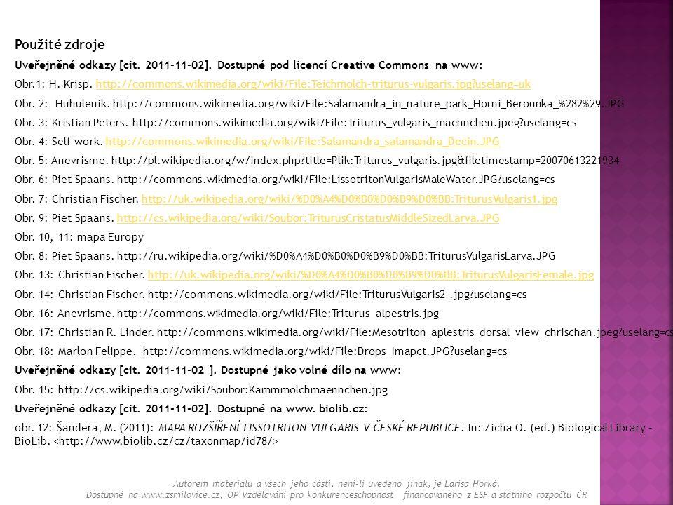 Použité zdroje Uveřejněné odkazy [cit. 2011-11-02]. Dostupné pod licencí Creative Commons na www: Obr.1: H. Krisp. http://commons.wikimedia.org/wiki/F