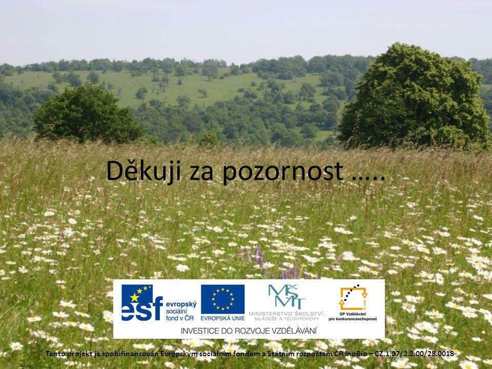 Děkuji za pozornost ….. Tento projekt je spolufinancován Evropským sociálním fondem a Státním rozpočtem ČR InoBio – CZ.1.07/2.2.00/28.0018