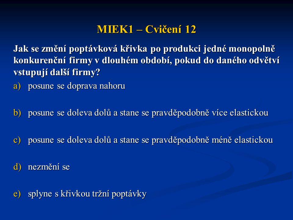 MIEK1 – Cvičení 12 Jak se změní poptávková křivka po produkci jedné monopolně konkurenční firmy v dlouhém období, pokud do daného odvětví vstupují dal