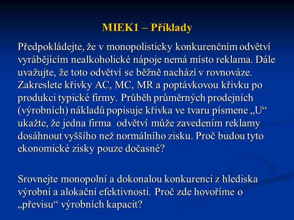 MIEK1 – Příklady Předpokládejte, že v monopolisticky konkurenčním odvětví vyrábějícím nealkoholické nápoje nemá místo reklama. Dále uvažujte, že toto
