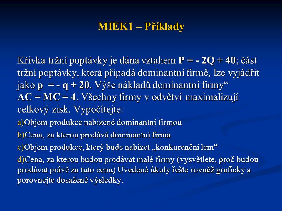MIEK1 – Příklady Křivka tržní poptávky je dána vztahem P = - 2Q + 40; část tržní poptávky, která připadá dominantní firmě, lze vyjádřit jako p = - q +