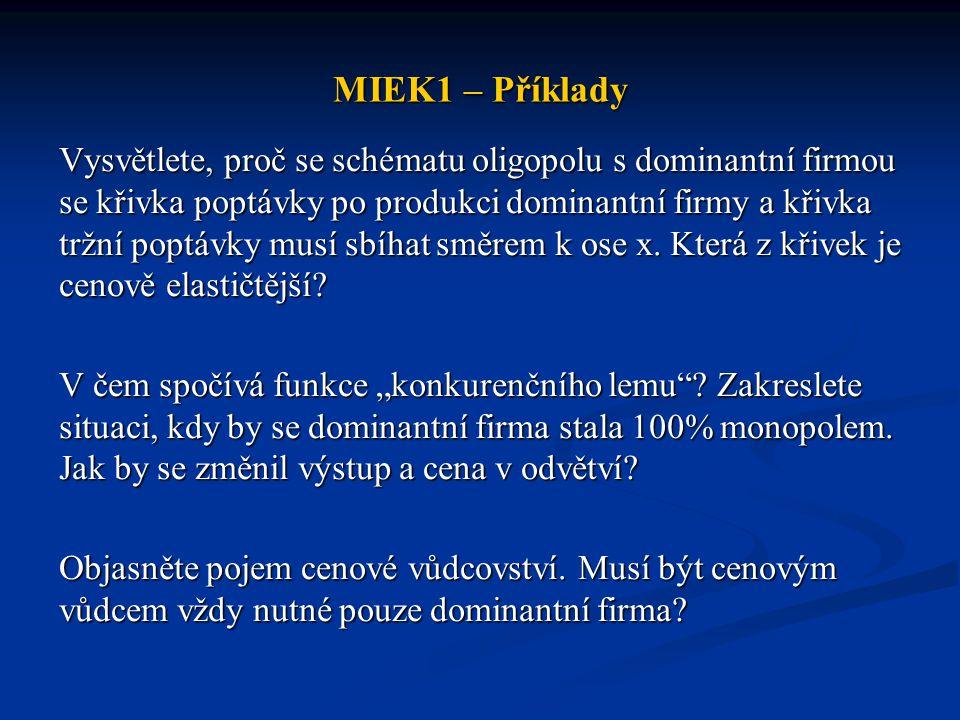 MIEK1 – Příklady Vysvětlete, proč se schématu oligopolu s dominantní firmou se křivka poptávky po produkci dominantní firmy a křivka tržní poptávky mu