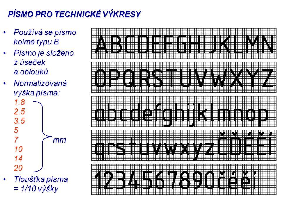 PÍSMO PRO TECHNICKÉ VÝKRESY Používá se písmo kolmé typu BPoužívá se písmo kolmé typu B Písmo je složeno z úseček a obloukůPísmo je složeno z úseček a