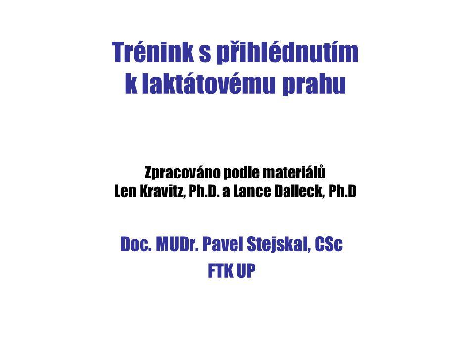 Trénink s přihlédnutím k laktátovému prahu Zpracováno podle materiálů Len Kravitz, Ph.D. a Lance Dalleck, Ph.D Doc. MUDr. Pavel Stejskal, CSc FTK UP