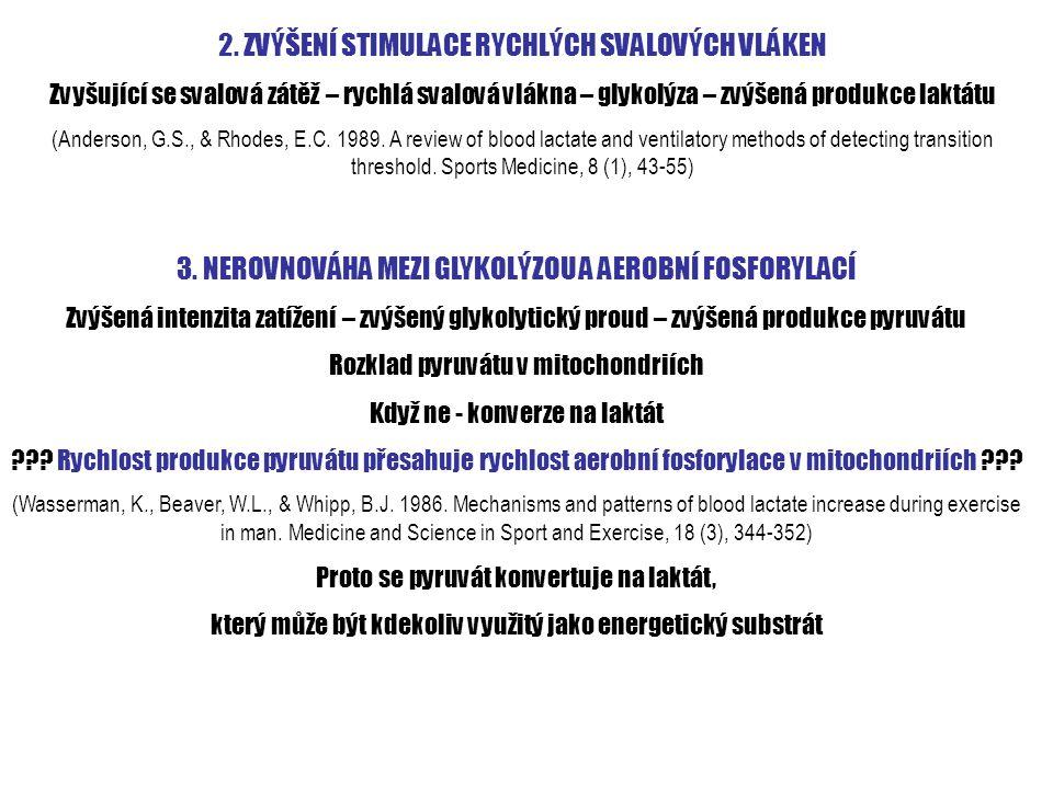 2. ZVÝŠENÍ STIMULACE RYCHLÝCH SVALOVÝCH VLÁKEN Zvyšující se svalová zátěž – rychlá svalová vlákna – glykolýza – zvýšená produkce laktátu (Anderson, G.
