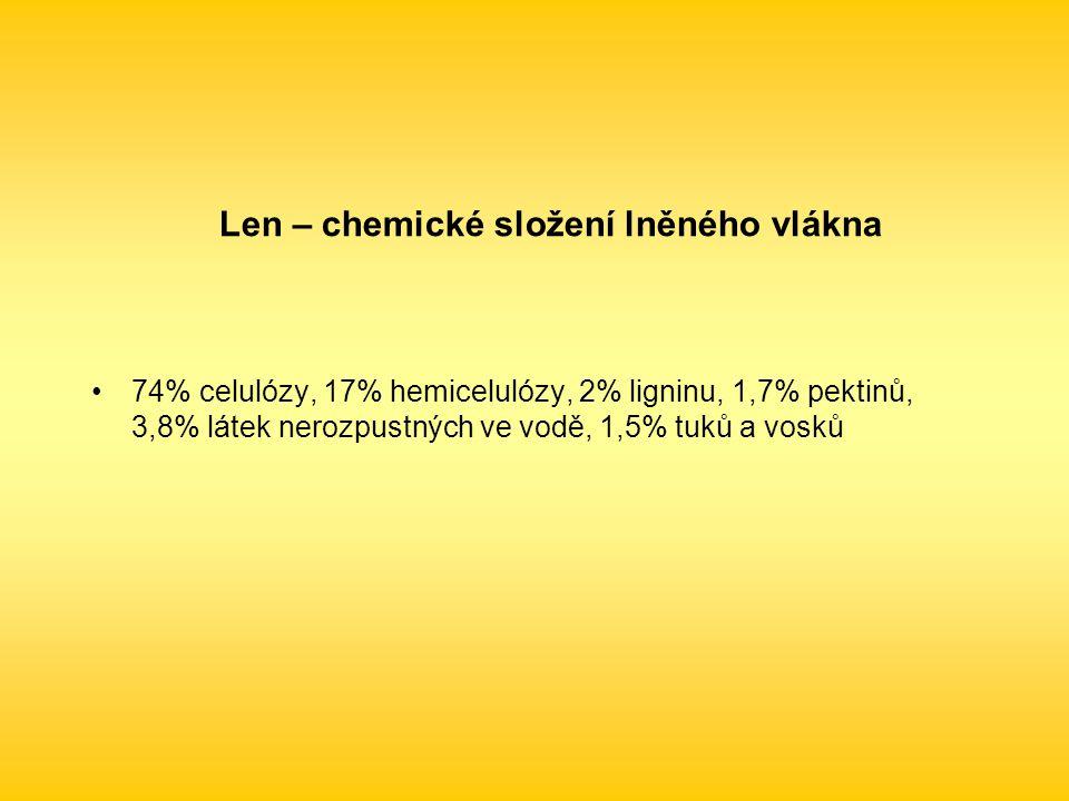 Len – chemické složení lněného vlákna 74% celulózy, 17% hemicelulózy, 2% ligninu, 1,7% pektinů, 3,8% látek nerozpustných ve vodě, 1,5% tuků a vosků