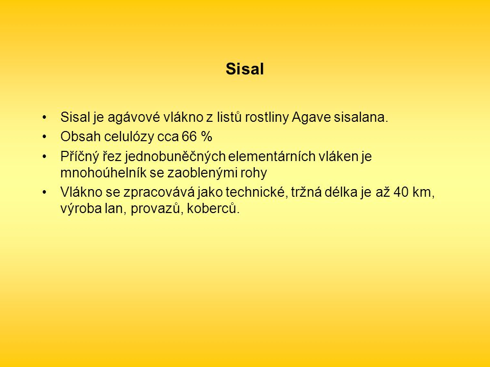 Sisal je agávové vlákno z listů rostliny Agave sisalana.