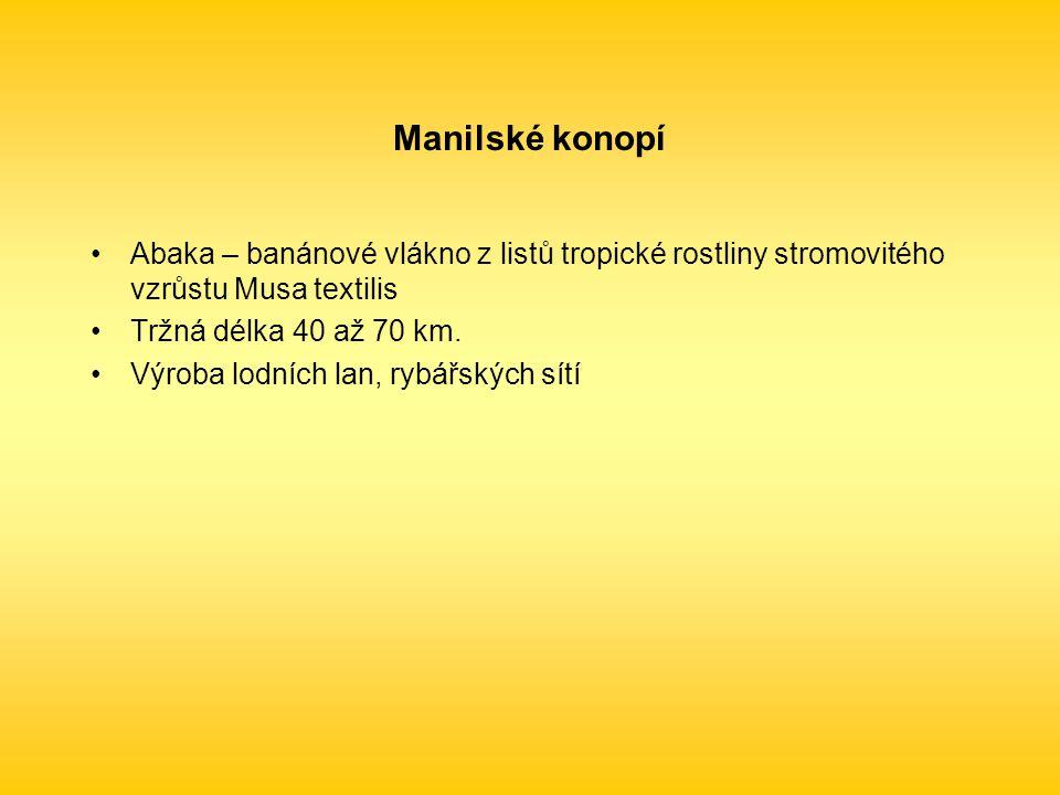 Abaka – banánové vlákno z listů tropické rostliny stromovitého vzrůstu Musa textilis Tržná délka 40 až 70 km.