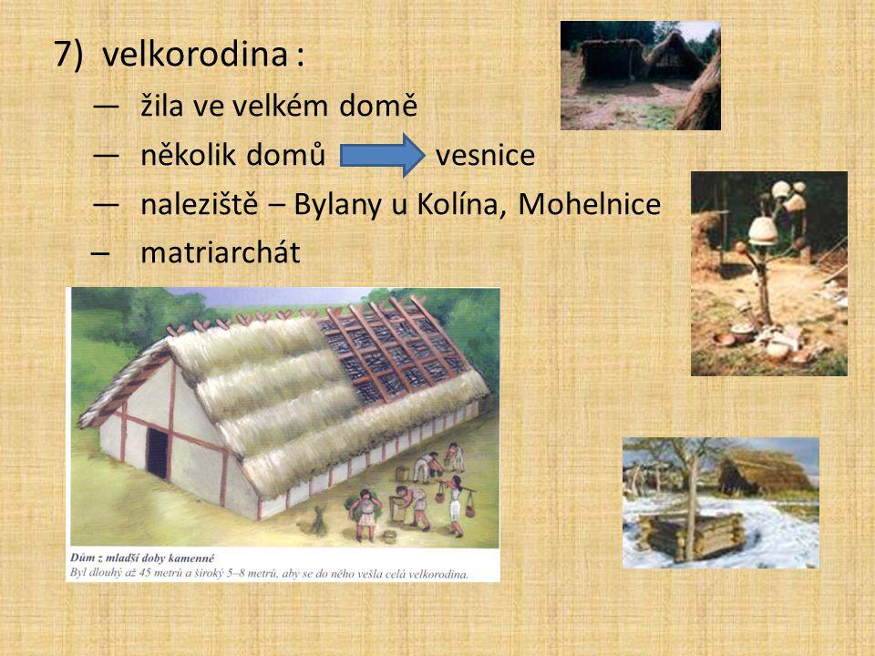 7)velkorodina : —žila ve velkém domě —několik domů vesnice —naleziště – Bylany u Kolína, Mohelnice – matriarchát