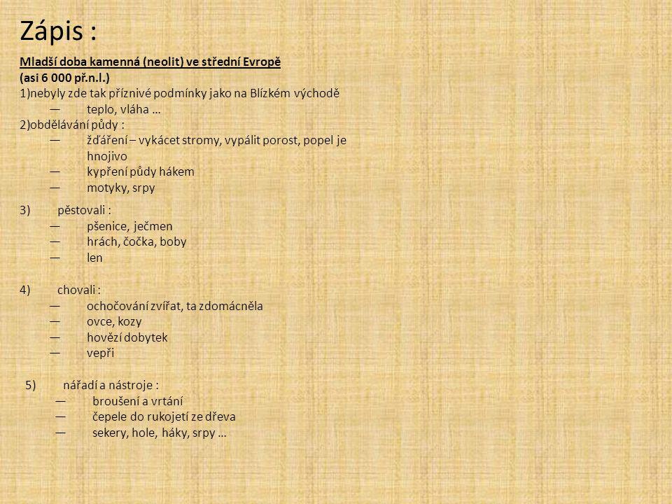 6)první řemesla : —tkalcovství : —přeslice, vřetena —svislý stav —tkali vlnu a len —hrnčířství : —nádoby na zrno a jídlo 7)velkorodina : —žila ve velkém domě —několik domů vesnice —naleziště - Bylany u Kolína, Mohelnice —matriarchát 8)rody : —příbuzní lidé —v čele rodu stál stařešina —tvořily ho velkorodiny —společně pracovali a o vše se dělili