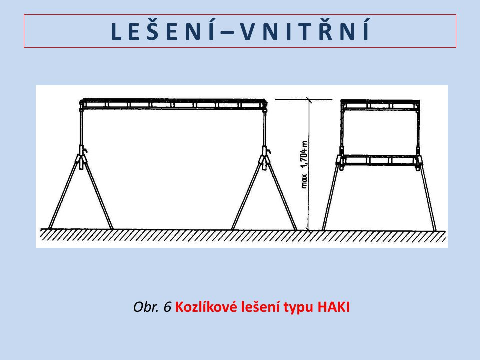 L E Š E N Í – V N I T Ř N Í Obr. 6 Kozlíkové lešení typu HAKI