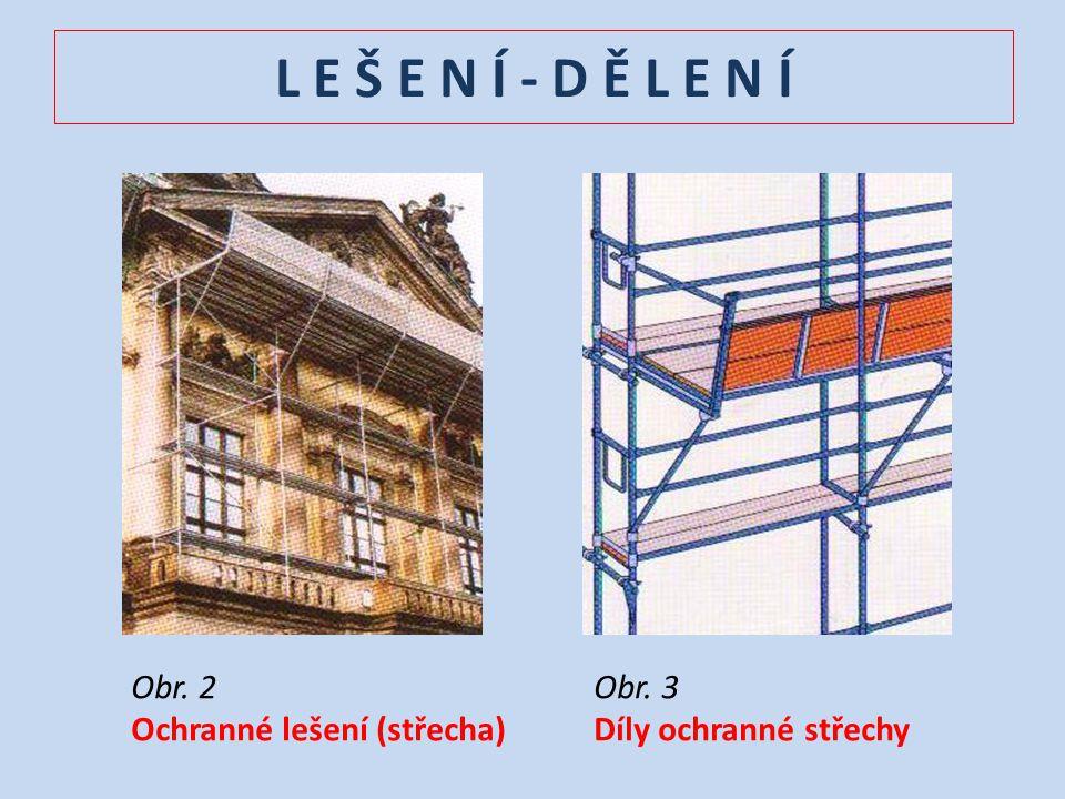 L E Š E N Í - D Ě L E N Í Obr. 2 Ochranné lešení (střecha) Obr. 3 Díly ochranné střechy