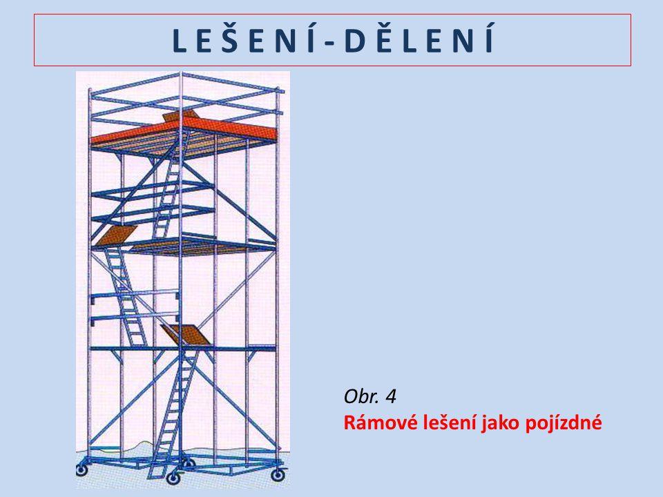 L E Š E N Í – V N I T Ř N Í vnitřní lešení se používá se při omítkářských, osazovacích, zednických a řemeslných pracích DRUHY VNITŘNÍCH LEŠENÍ - kozové (dřevěné, kovové - výsuvné, flexibilní) - žebříky (dřevěné, ocelové, z lehkých slitin, plastové - nevodivé) - pojízdná lešení - zvedací plošiny - nájezdy a rampy - ochranná lešení