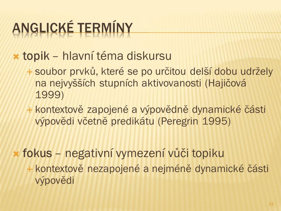  topik – hlavní téma diskursu  soubor prvků, které se po určitou delší dobu udržely na nejvyšších stupních aktivovanosti (Hajičová 1999)  kontextov