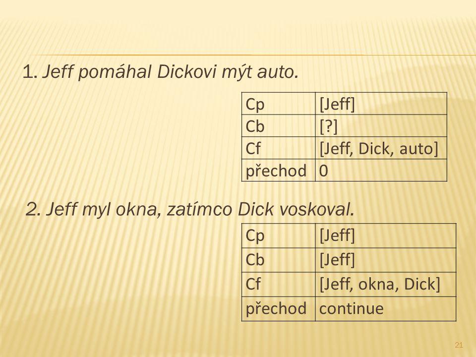1. Jeff pomáhal Dickovi mýt auto. 21 Cp[Jeff] Cb[?] Cf[Jeff, Dick, auto] přechod0 2. Jeff myl okna, zatímco Dick voskoval. Cp[Jeff] Cb[Jeff] Cf[Jeff,