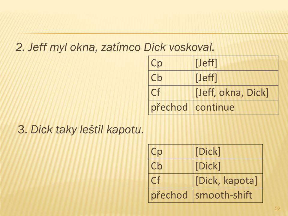 3. Dick taky leštil kapotu. 22 2. Jeff myl okna, zatímco Dick voskoval. Cp[Jeff] Cb[Jeff] Cf[Jeff, okna, Dick] přechodcontinue Cp[Dick] Cb[Dick] Cf[Di