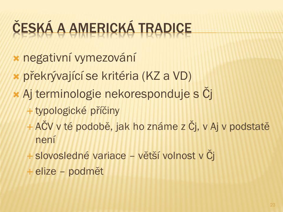23  negativní vymezování  překrývající se kritéria (KZ a VD)  Aj terminologie nekoresponduje s Čj  typologické příčiny  AČV v té podobě, jak ho z