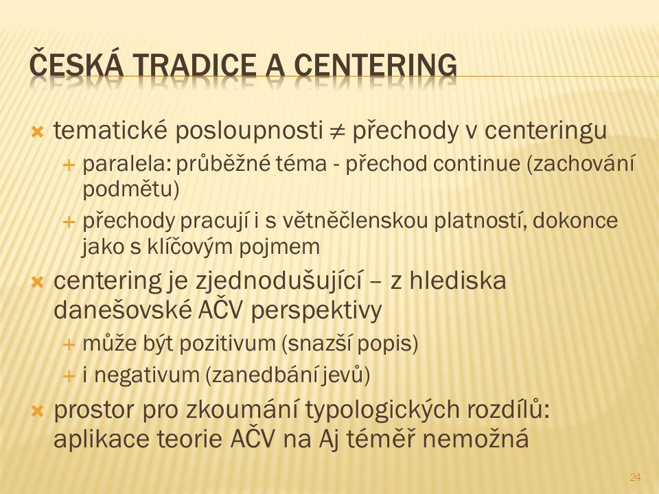  tematické posloupnosti ≠ přechody v centeringu  paralela: průběžné téma - přechod continue (zachování podmětu)  přechody pracují i s větněčlenskou