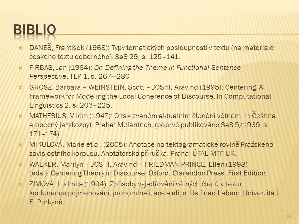  DANEŠ, František (1968): Typy tematických posloupností v textu (na materiále českého textu odborného). SaS 29, s. 125–141.  FIRBAS, Jan (1964): On