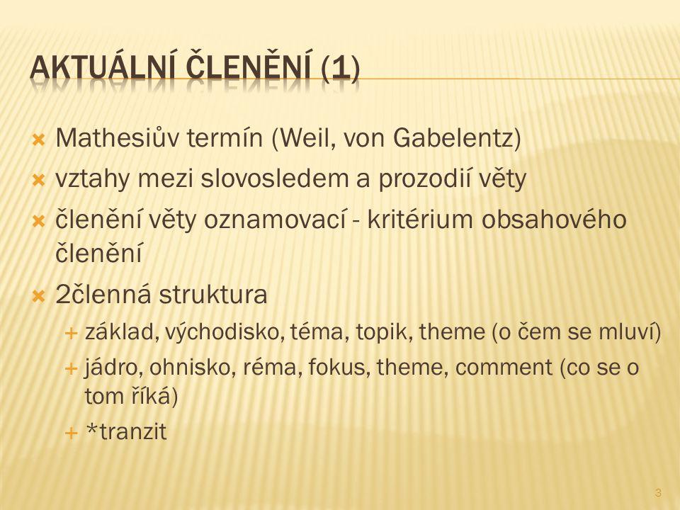  Mathesiův termín (Weil, von Gabelentz)  vztahy mezi slovosledem a prozodií věty  členění věty oznamovací - kritérium obsahového členění  2členná