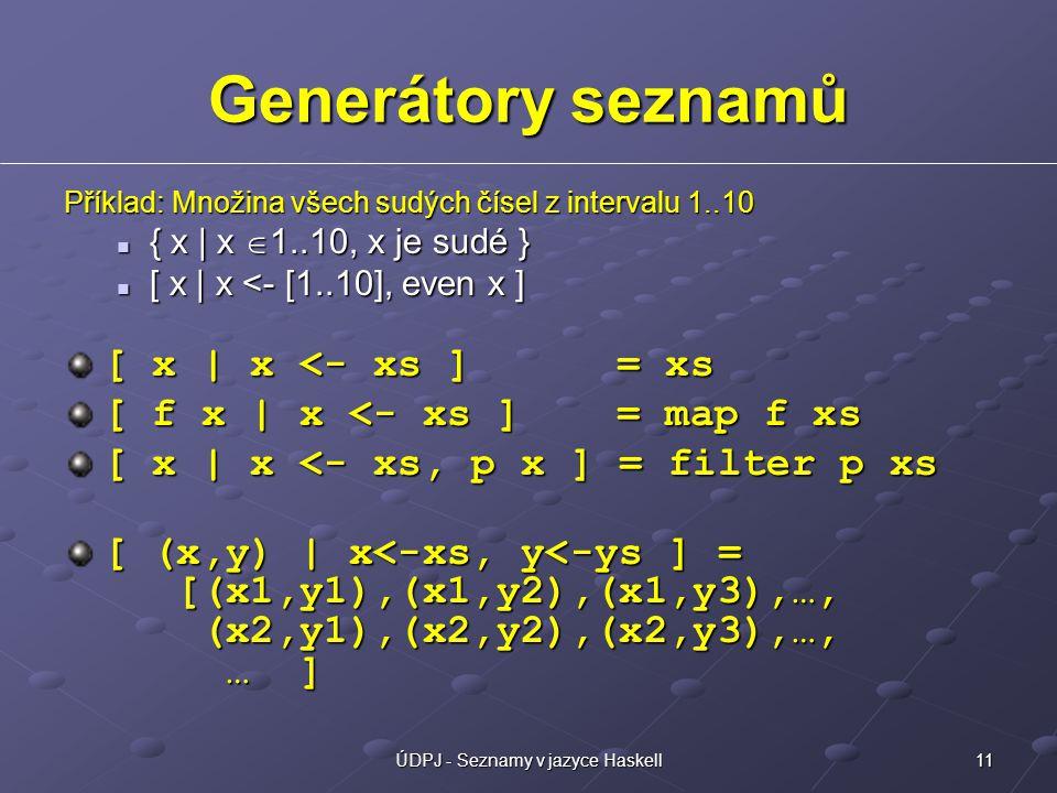 11ÚDPJ - Seznamy v jazyce Haskell Generátory seznamů Příklad: Množina všech sudých čísel z intervalu 1..10 { x | x  1..10, x je sudé } { x | x  1..10, x je sudé } [ x | x <- [1..10], even x ] [ x | x <- [1..10], even x ] [ x | x <- xs ] = xs [ f x | x <- xs ] = map f xs [ x | x <- xs, p x ] = filter p xs [ (x,y) | x<-xs, y<-ys ] = [(x1,y1),(x1,y2),(x1,y3),…, (x2,y1),(x2,y2),(x2,y3),…, … ]