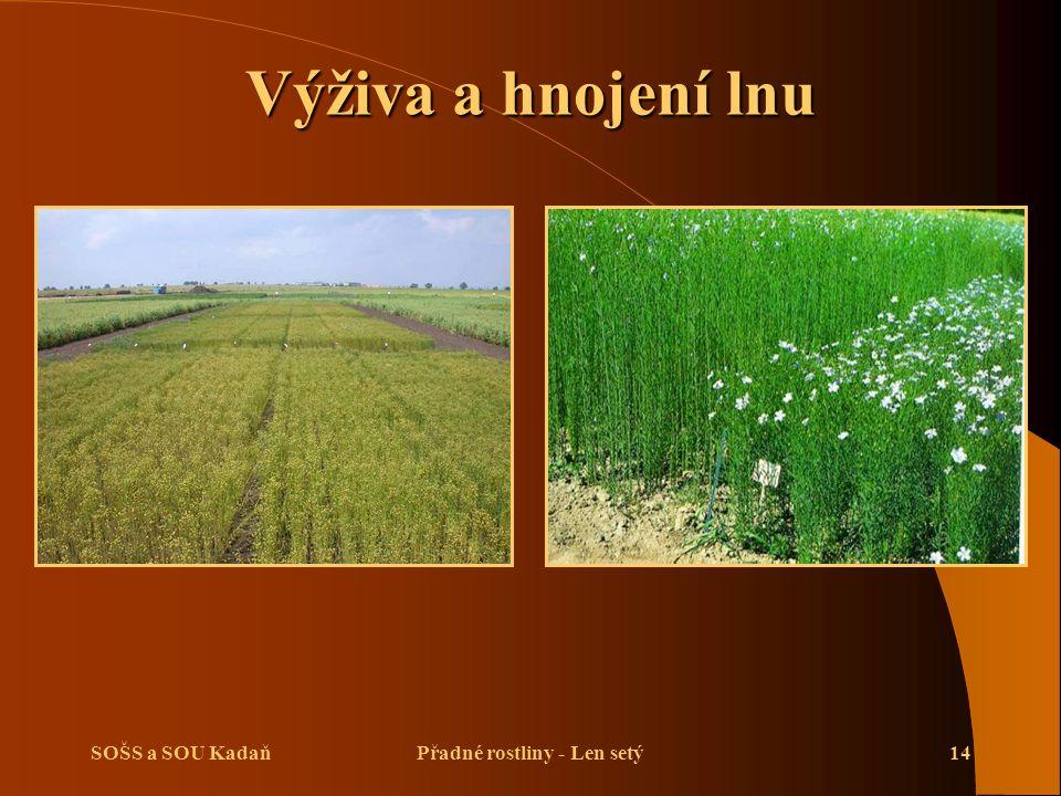 SOŠS a SOU KadaňPřadné rostliny - Len setý14 Výživa a hnojení lnu