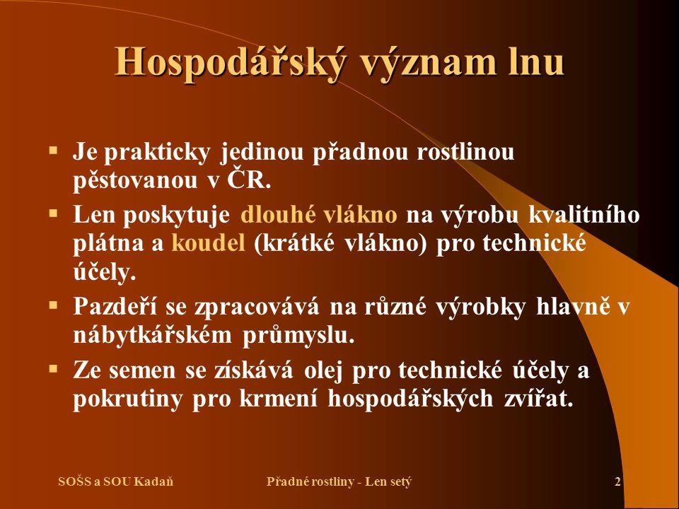 SOŠS a SOU KadaňPřadné rostliny - Len setý2 Hospodářský význam lnu  Je prakticky jedinou přadnou rostlinou pěstovanou v ČR.  Len poskytuje dlouhé vl