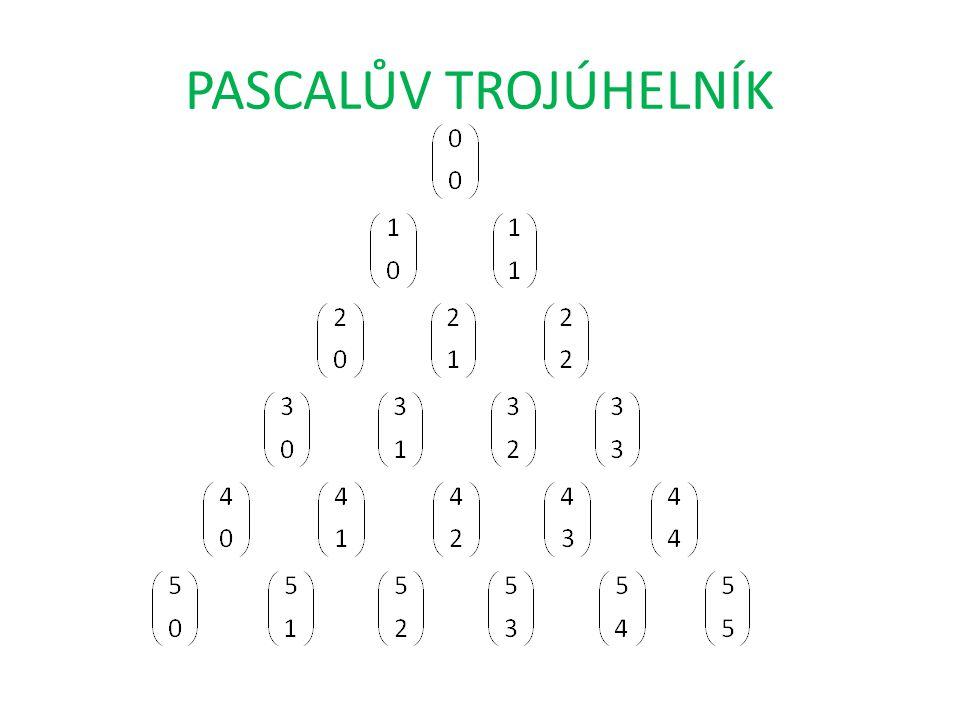 vyčíslený Pascalův trojúhelník součet dvou sousedních čísel v řádku je roven číslu pod nimi