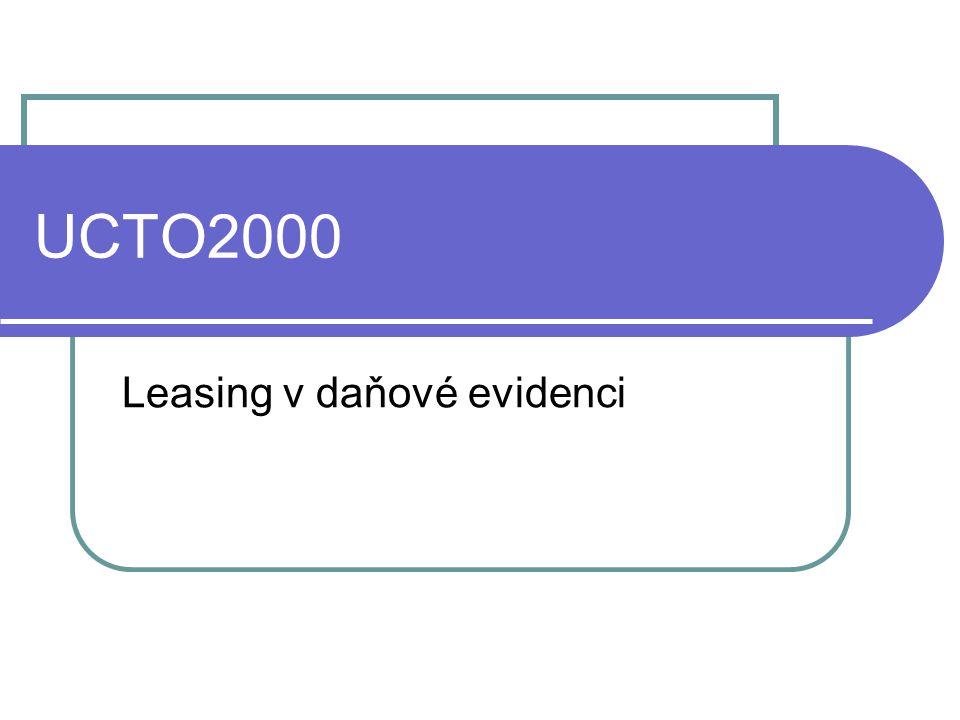 UCTO2000 Leasing v daňové evidenci
