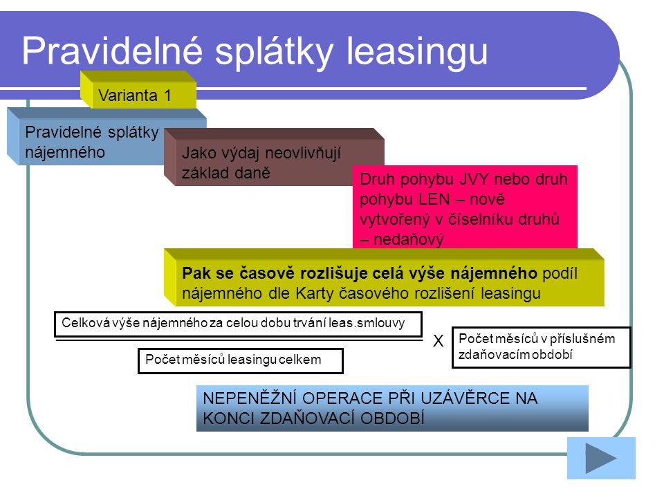 Pravidelné splátky leasingu Pravidelné splátky nájemného Jako výdaj neovlivňují základ daně Druh pohybu JVY nebo druh pohybu LEN – nově vytvořený v čí