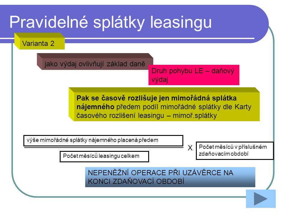 Pravidelné splátky leasingu jako výdaj ovlivňují základ daně Druh pohybu LE – daňový výdaj Varianta 2 NEPENĚŽNÍ OPERACE PŘI UZÁVĚRCE NA KONCI ZDAŇOVAC