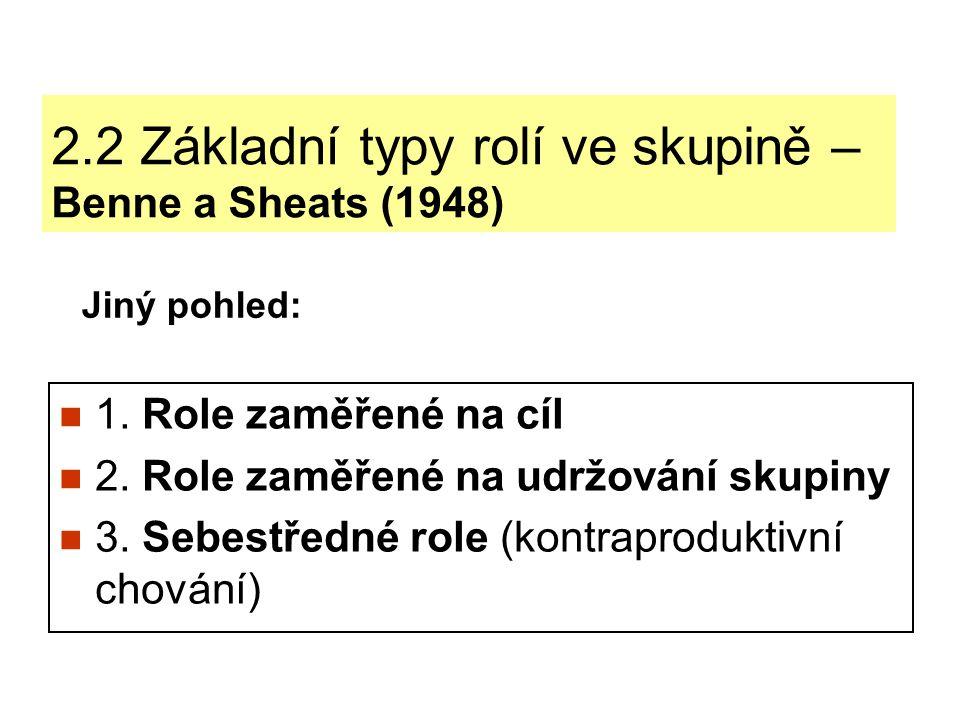 2.2.1 Role zaměřené na cíl Role zaměřené na cíl naplňují funkci dosažení skupinového cíle.