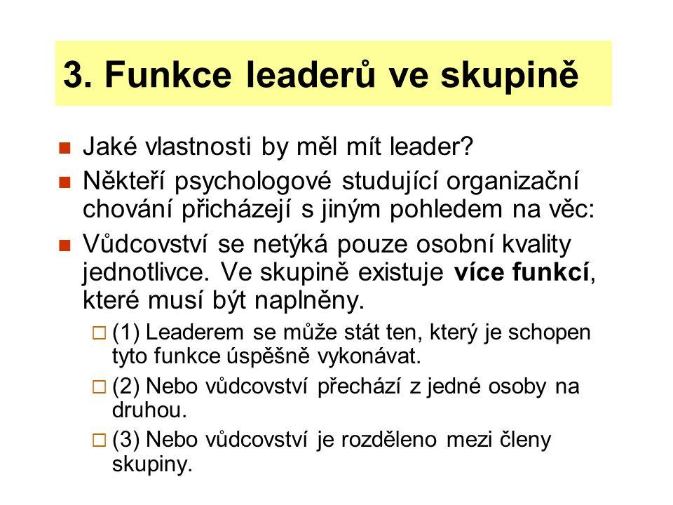 Úkolové a sociální funkce leaderů Vůdcovství zahrnuje dva okruhy činností:  (1) úkolové funkce  (2) sociální funkce Úkolové funkce - činnost, které pomáhají skupině dosáhnout jejích cílů.