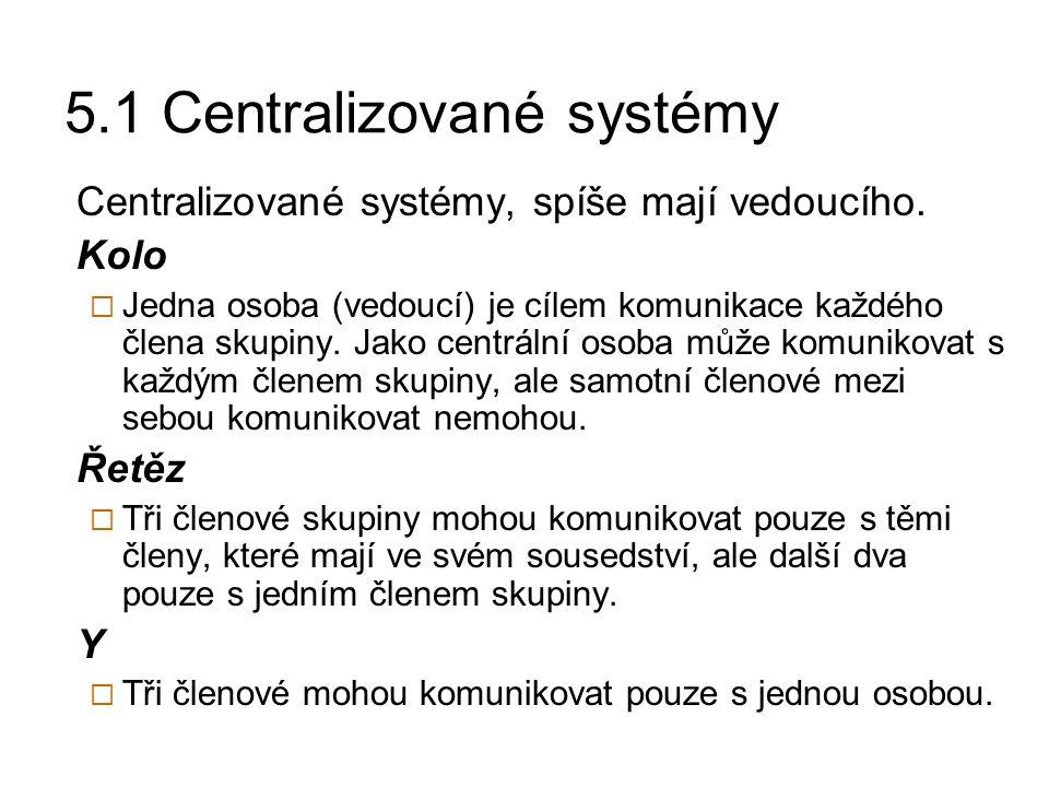 5.2 Decentralizované systémy Decentralizované systémy, někdy mají vedoucího, někdy ne.