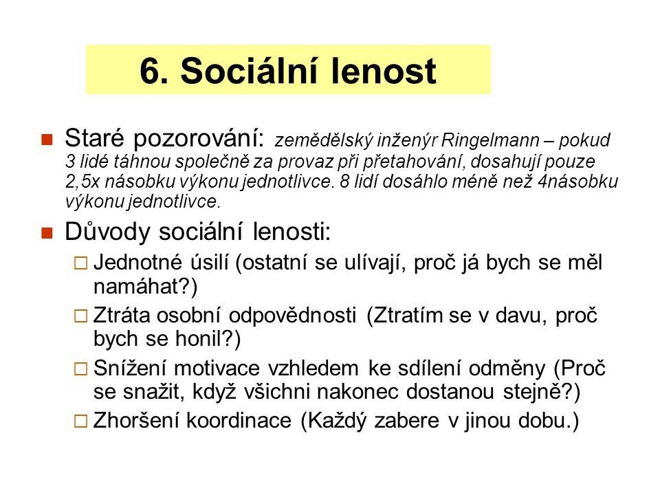Sociální lenost se projevuje tam, kde: Úkol je vnímán jako nedůležitý nebo příliš snadný.