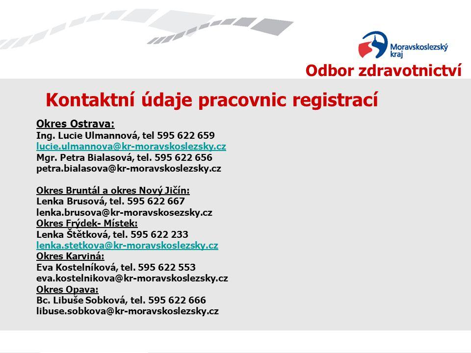 Odbor zdravotnictví Kontaktní údaje pracovnic registrací Okres Ostrava: Ing. Lucie Ulmannová, tel 595 622 659 lucie.ulmannova@kr-moravskoslezsky.cz Mg