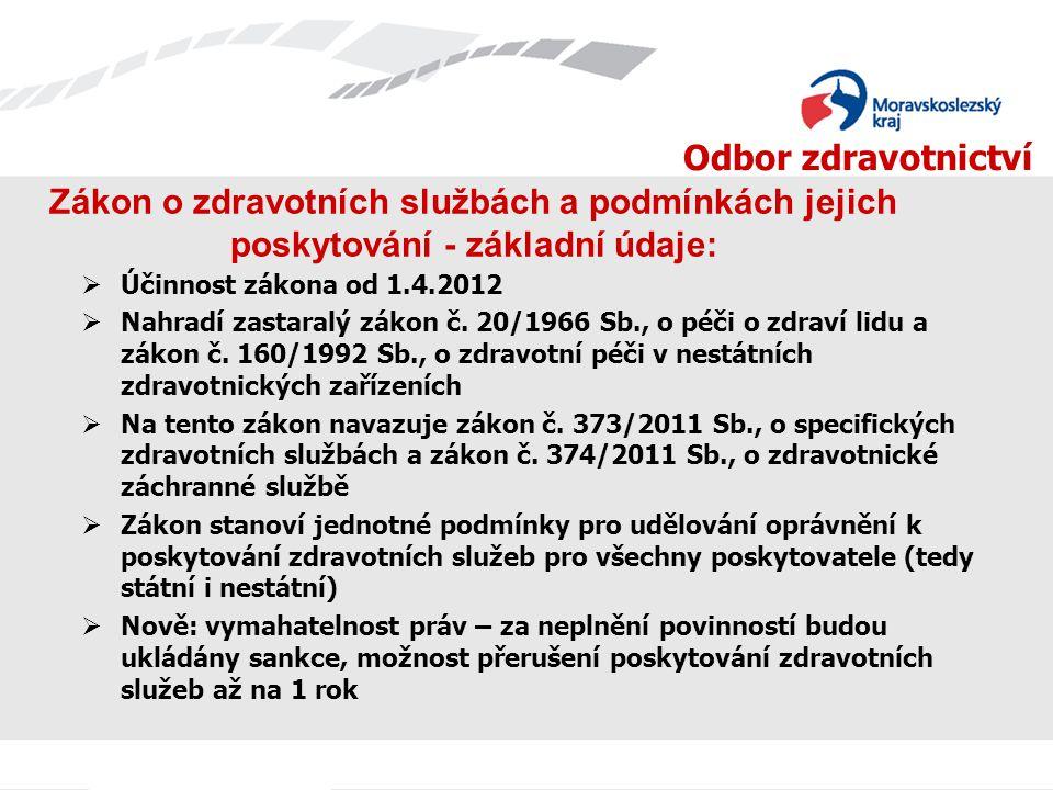 Odbor zdravotnictví Zákon o zdravotních službách a podmínkách jejich poskytování - základní údaje:  Účinnost zákona od 1.4.2012  Nahradí zastaralý z