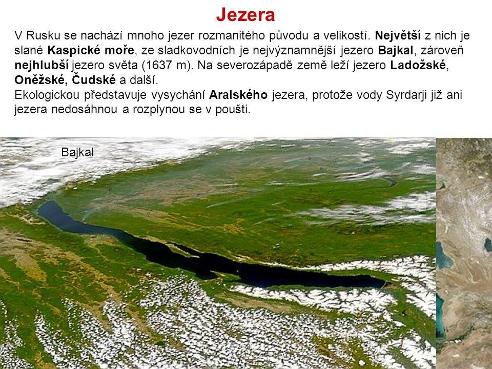 V Rusku se nachází mnoho jezer rozmanitého původu a velikostí. Největší z nich je slané Kaspické moře, ze sladkovodních je nejvýznamnější jezero Bajka