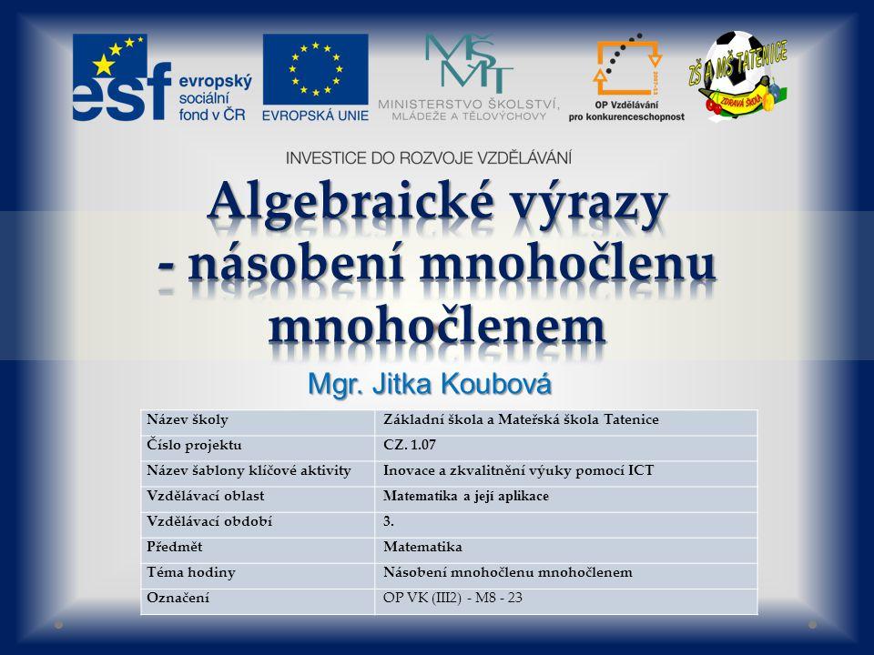 Název školy Základní škola a Mateřská škola Tatenice Číslo projektu CZ.