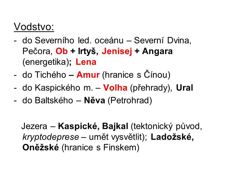 Vodstvo: -do Severního led. oceánu – Severní Dvina, Pečora, Ob + Irtyš, Jenisej + Angara (energetika); Lena -do Tichého – Amur (hranice s Čínou) -do K