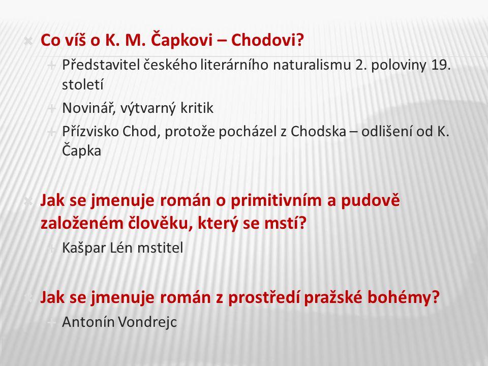  Co víš o K. M. Čapkovi – Chodovi.  Představitel českého literárního naturalismu 2.