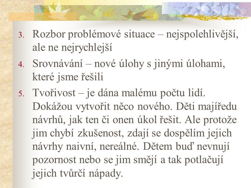 3. Rozbor problémové situace – nejspolehlivější, ale ne nejrychlejší 4.