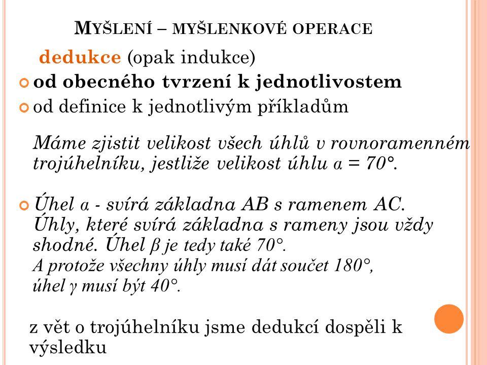 M YŠLENÍ – MYŠLENKOVÉ OPERACE dedukce (opak indukce) od obecného tvrzení k jednotlivostem od definice k jednotlivým příkladům Máme zjistit velikost vš